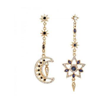 Crescent and Star Shape Earring Set