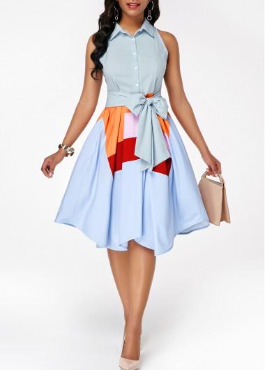 Rosewe Summer Dress For Women Sky Blue Printed Sleeveless Asymmetric Hem Belted Knee Length Cute Swing Dress - L