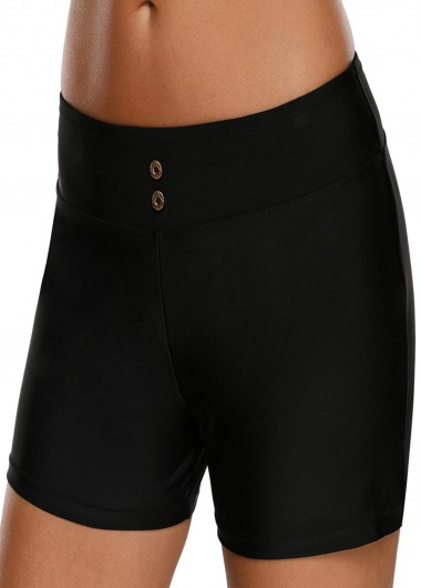 Women'S Black Band Waist Swimwear Short Solid Color Mid Waist Swimsuit Shorts By Rosewe - L