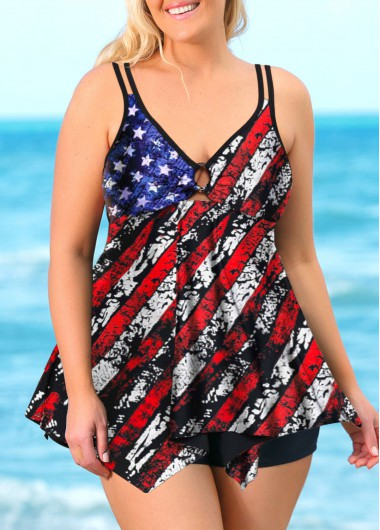 Plus Size American Flag Print Swimdress and Shorts
