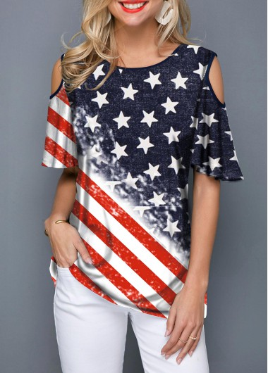 4Th Of July Women'S Color Block Cold Shoulder American Flag Printed Tunic T Shirt Round Neck Half Sleeve Casual Top By Rosewe - L