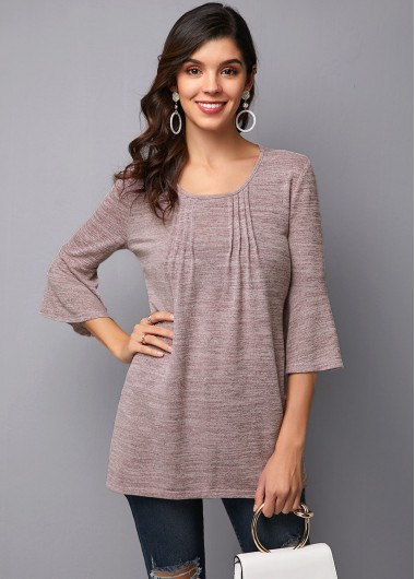 Flare Sleeve Crinkle Chest Round Neck T Shirt - 10