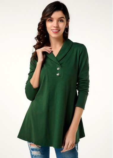 Women'S Dark Green Long Sleeve T Shirt Solid Color V Neck Button Detail Tunic Casual Top By Rosewe - 10