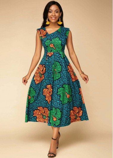 Wedding Guest Dress Sleeveless Flower Print High Waist Dress - 10