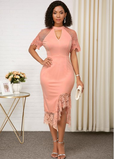 Wedding Guest Dress Pink Keyhole Neckline Lace Panel Dress - 10