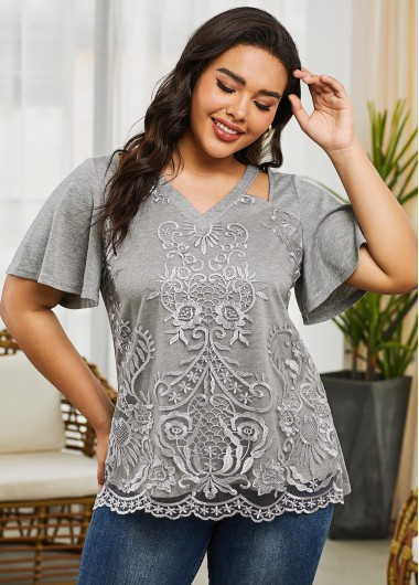 Short Sleeve Grey Plus Size V Neck T Shirt - 1X