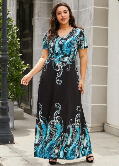 Paisley Print Short Sleeve Plus Size Maxi Dress - 1X