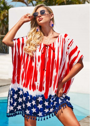 4Th Of July Rosewe Women American Flag Printed Swimsuit Cover Up Patriotic Beach Cover Up Red Swimwear Cover Up Bathing Suit Cover Up - S