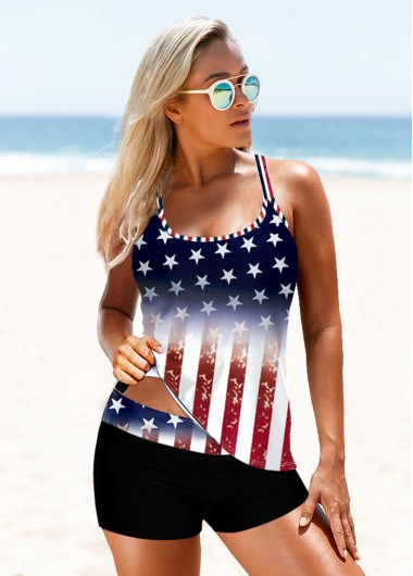 4Th Of July Women'S Navy Blue Mid Waist Pariotic Tankini Swimsuit American Flag Print Cross Strap Two Piece Padded Wire Free Bathing Suit By - 10
