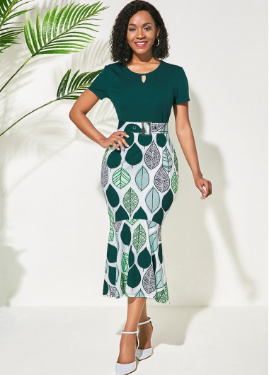 Wedding Guest Dress Green Flower Print Round Neck Dress - L