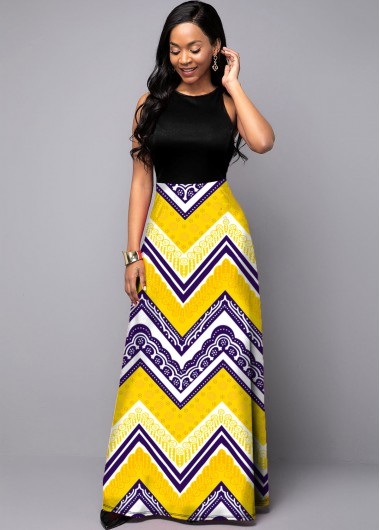 Cocktail Party Dress Tribal Print Round Neck Sleeveless Dress - 10