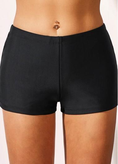 Basic Black Mid Waist Swimwear Shorts - 10