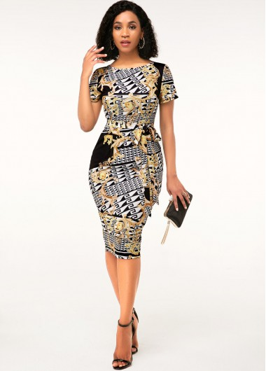 Round Neck Short Sleeve Geometric Print Sheath Dress