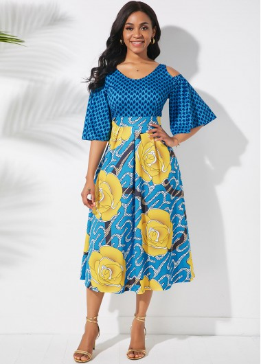 Cocktail Party Dress Printed Butterfly Sleeve Cold Shoulder Dress - L