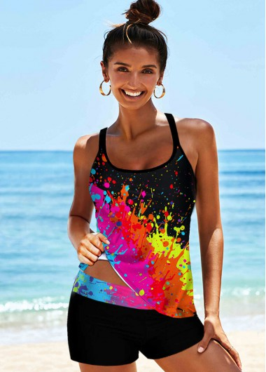 Rosewe Women Rainbow Tie Dye Strappy Padded Wire Free Tankini Swimsuit Multi Color Two Piece Bathing Suit And Shorts - 10