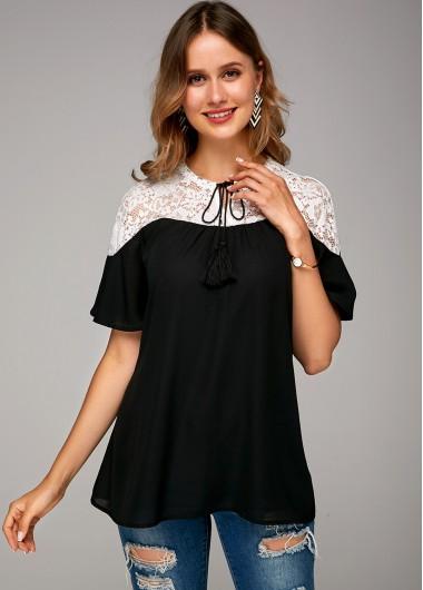 Tie Neck Lace Panel Short Sleeve Soft Blouse - 10