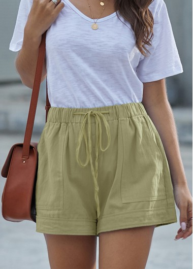 Green Pocket Detail Drawstring Waist Shorts