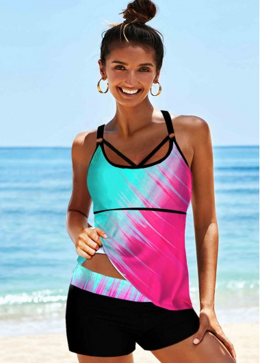 Rosewe Women Rainbow Tie Dye Color Two Piece Tankini Swimsuit Multi Color Printed Spaghetti Strap Bathing Suit And Shorts - L