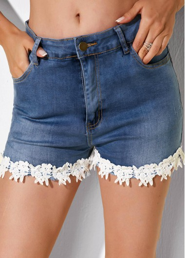 Lace Trim Denim Slant Pocket Shorts - L