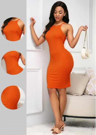 Rosewe Women Orange Bib Neck Sleeveless Sheath Midi Dress Solid Color Knee Length Casual Dress - L