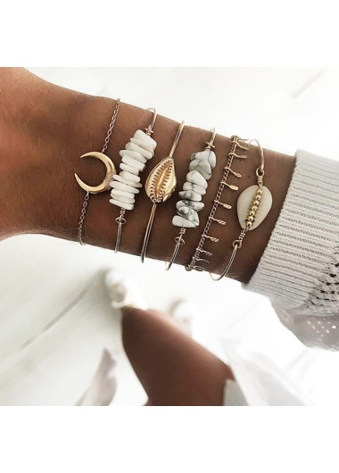 Mother's Day Gifts Seashell Shape Gold Metal Bracelet Set - One Size