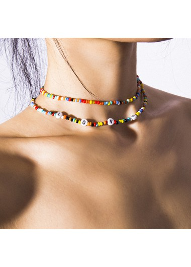 Mother's Day Gifts Multi Color Beads Embellished Necklace Set for Women - One Size