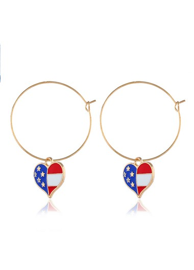 Mother's Day Gifts Metal Ring Detail American Flag Print Earrings for Lady - One Size