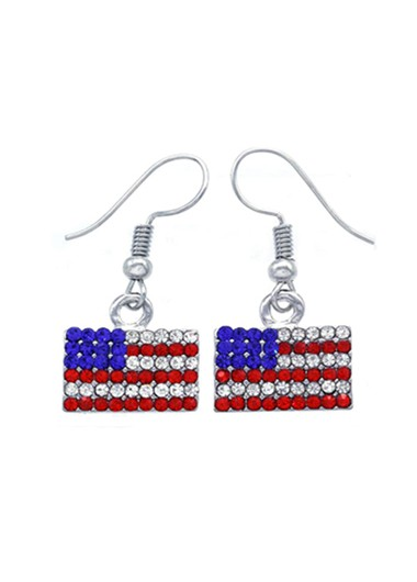Mother's Day Gifts Metal Silver American Flag Print Rhinestone Earrings - One Size