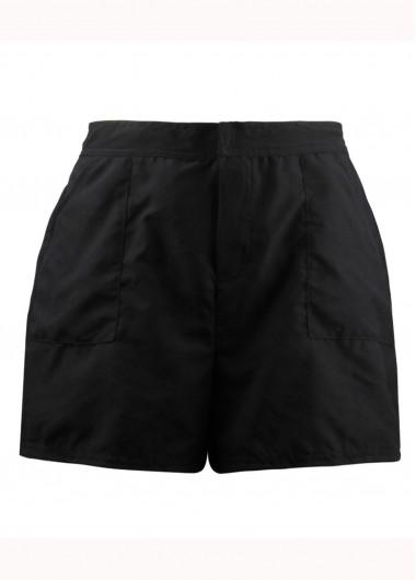Black Elastic Waist Beach Shorts for Women - 8