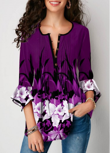 Purple Round Neck Button Up Flower Print Blouse - L