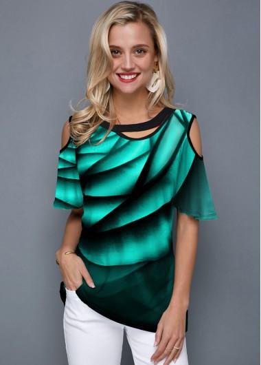 Half Sleeve Cold Shoulder Printed Green T Shirt - L