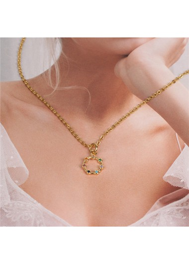 Mother's Day Gifts Women's Rhinestone Embellished Metal Chain Necklace - One Size
