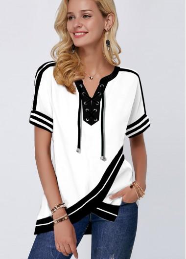 Short Sleeve Crossover Hem Lace Up White Blouse - L