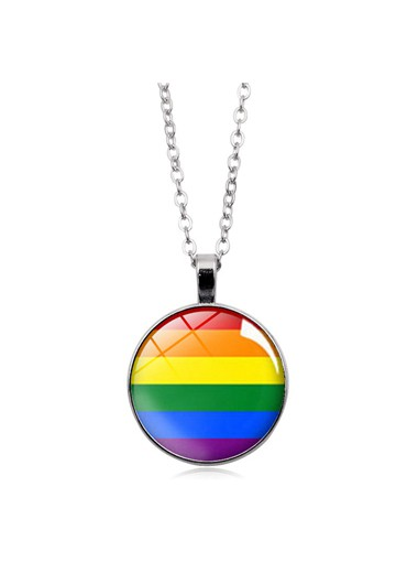 Mother's Day Gifts Multi Color Circle Pendant Metal Gay Pride Necklace - One Size