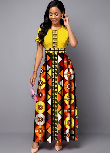 Rosewe Women Yellow Bohemian Print Short Sleeve Maxi Dress Round Neck Tribal Printed Vintage Cocktail Party Dress - L