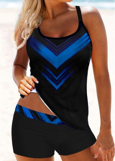 Royal Blue Strappy Back Printed Tankini Set - L