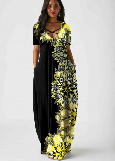 Rosewe Women Black Tribal Printed Maxi Short Sleeve Casual Dress With Pockets Cross Strap Vacation Tunic Dress - L