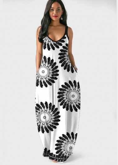 Cocktail Party Dress Spaghetti Strap Mandala Print Side Pocket Maxi Dress - L
