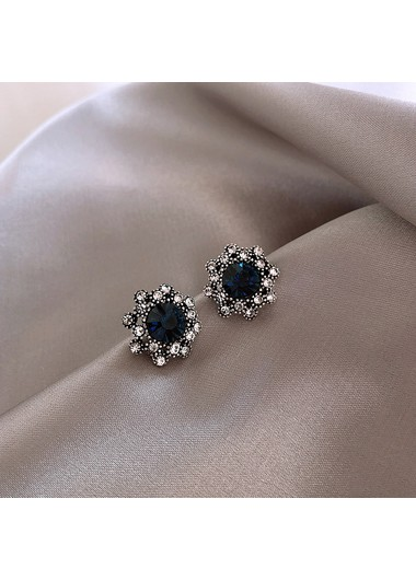 Mother's Day Gifts Rhinestone Embellished Flower Shape Earring Set for Women - One Size
