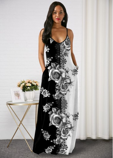 Rosewe Women Black Sleeveless Straight Bohemian Maxi Cocktail Party Dress With Side Pockets Floral Printed Spaghetti Strap Maxi Elegant Casual - XS