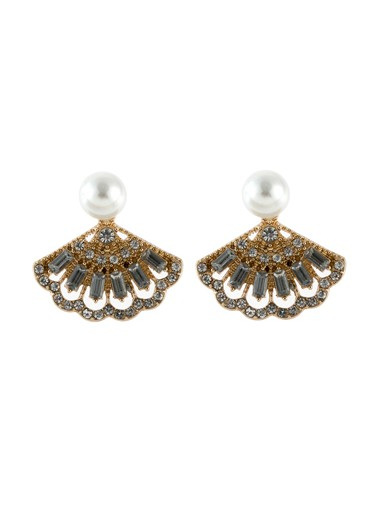 Mother's Day Gifts Pearl Embellished Gold Metal Fan Shape Earring Set - One Size