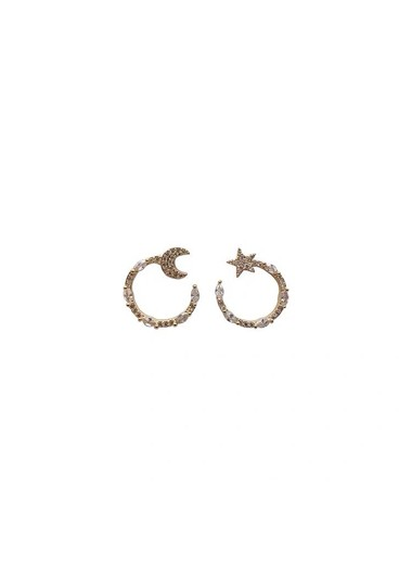 Mother's Day Gifts Rhinestone White Crescent Shape Earring Set - One Size