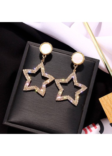 Mother's Day Gifts Star Shape Gold Metal Earring Set for Women - One Size