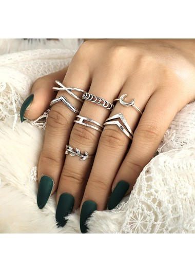 Mother's Day Gifts Silver Metal Geometric Shape Ring Set for Women - One Size
