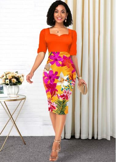 Orange Half Sleeve Floral Print Contrast Dress