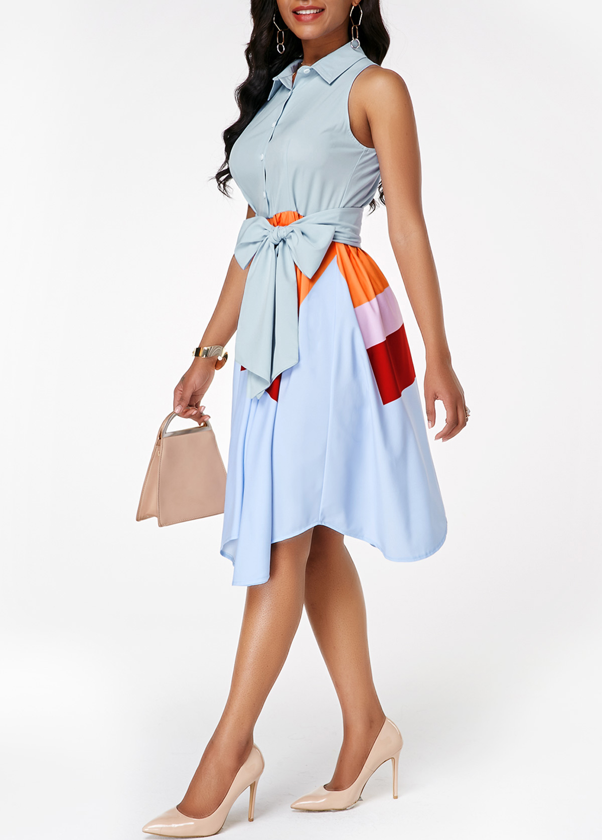Color Block Asymmetric Hem Button Front Belted Dress