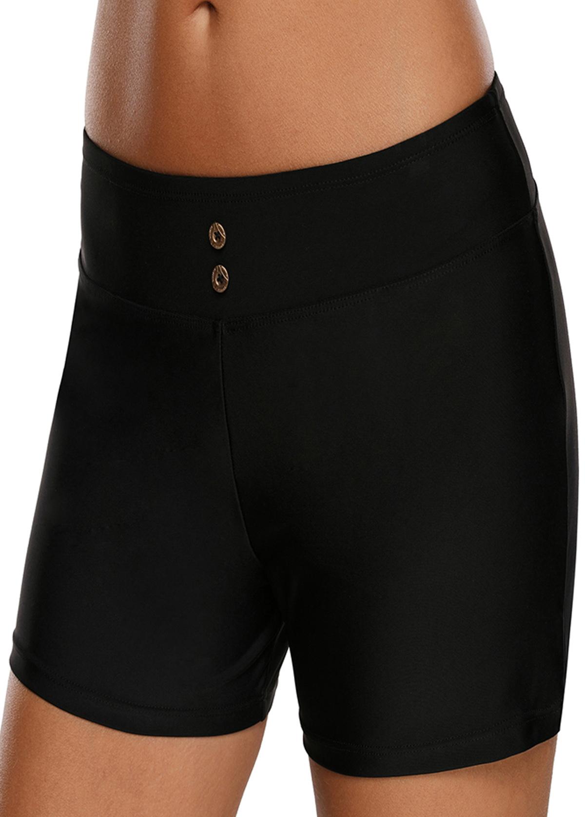 Band Waist Solid Black Swimwear Shorts