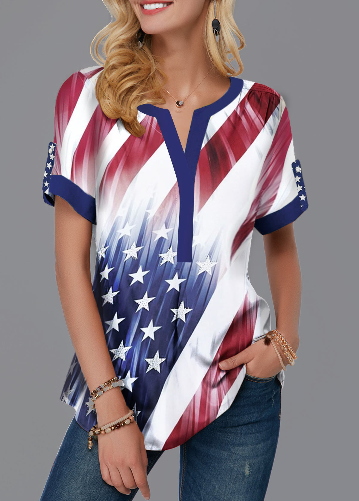 Contrast Piping Split Neck American Flag Print Blouse