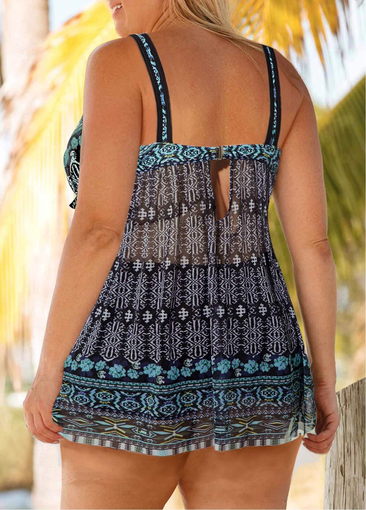 Plus Size Tribal Print Keyhole Back Swimdress and Shorts