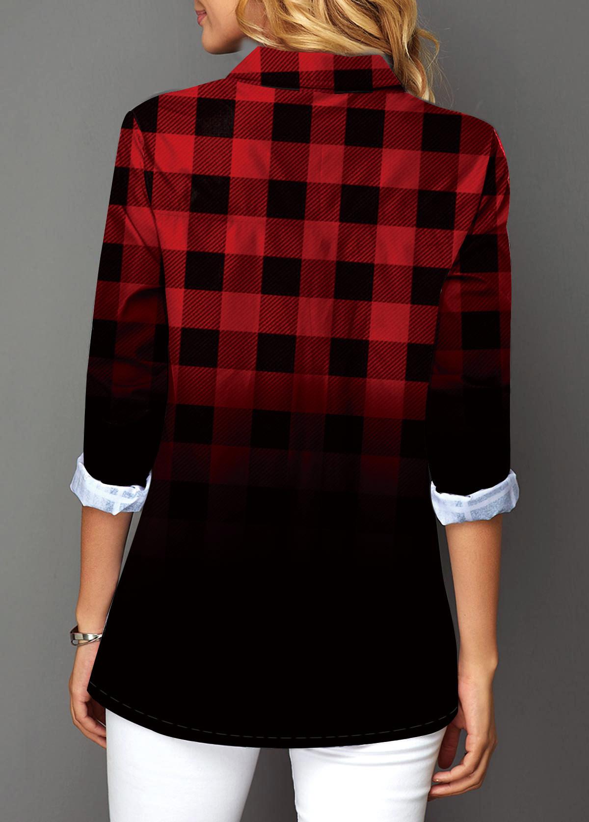 Button Up Plaid Print Turndown Collar Christmas Shirt